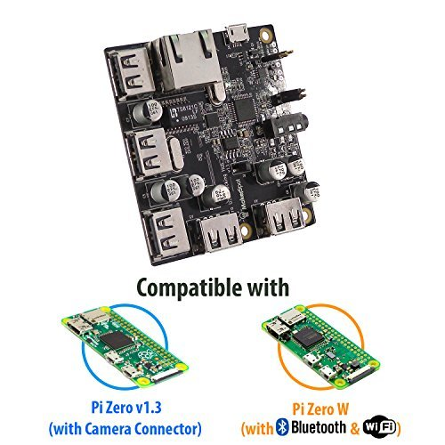 MakerSpot 5-Port Stackable USB Docking Hub for Raspberry Pi Zero V1.3 (with Camera Connector) and Pi Zero W (with Bluetooth & WiFi)