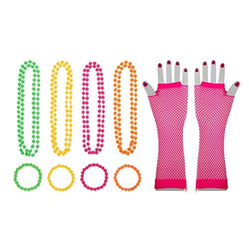 STOBOK Party Neon Anhänger Armband Perlenkette Fischnetz Auge Lange Handschuhe (Halskette x 4 + Armband x 4 + Wassermelone rote Handschuhe x 1)