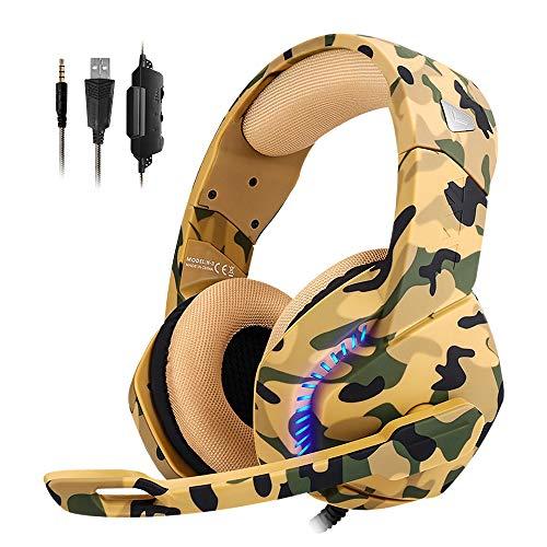 REDSTORM PS4 - Cuffie da gaming con microfono regolabile con cancellazione del rumore, Low Audio Stereo con luce LED, compatibili con interruttori, Xbox One, PS4, PC (camouflage)