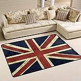 Alfombra de área Alfombra Tapete de Puerta 72x48 Pulgadas Vintage Union Jack Alfombra de Bandera británica para Sala de Estar Dormitorio