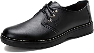 2019 Mens New Lace-up Flats Men's Casual Round Toe Classic Lace-up Flat Formal Business Shoes Wear-Resistant Leather Dress Oxford