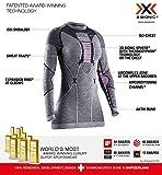 X-Bionic Apani 4.0 Merino Shirt Round Neck Long Sleeves Women Capa De Base Camiseta Funcional, Mujer, Black/Grey/Magnolia, S