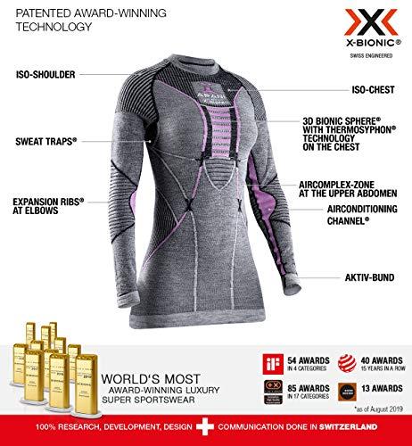 X-BIONIC Apani 4.0 T-Shirt à Manches Longues en Laine mérinos pour Femme L Noir/Gris/Magnolia