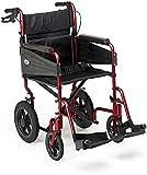CHAIR Silla de ruedas, silla de rehabilitación médica para personas mayores, personas mayores, silla de ruedas plegable manual de Escape con reposapiés extraíbles para uso en interiores y exteriores,