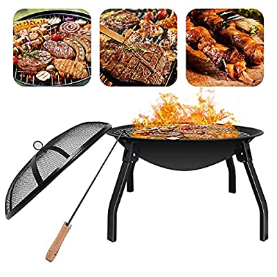 Portable Fire Pits Outdoor, Folding Fire Pit BBQ for Garden with Grill Grate, Round Fire Pit Bowl with Spark Screen for Beach, Camping or Backyard, Firepits 21.6inch with Poker, Foldable Leg by Bilisder