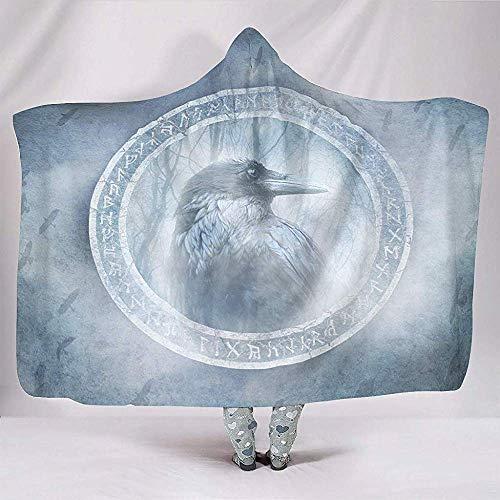 Nat Abra Etnische Scandinavische Runen Foggy Forest Artwork Crow Spirit Dekens Mode Knuffelig Warm Sherpa Fleece Gooien