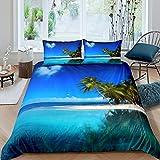 Ocean Palm Tree Juego de ropa de cama para niños, nubes, forma de corazón, romántica playa, juego de cama para niños, niñas, adolescentes, azul arena, funda de edredón de 3 piezas de tamaño doble