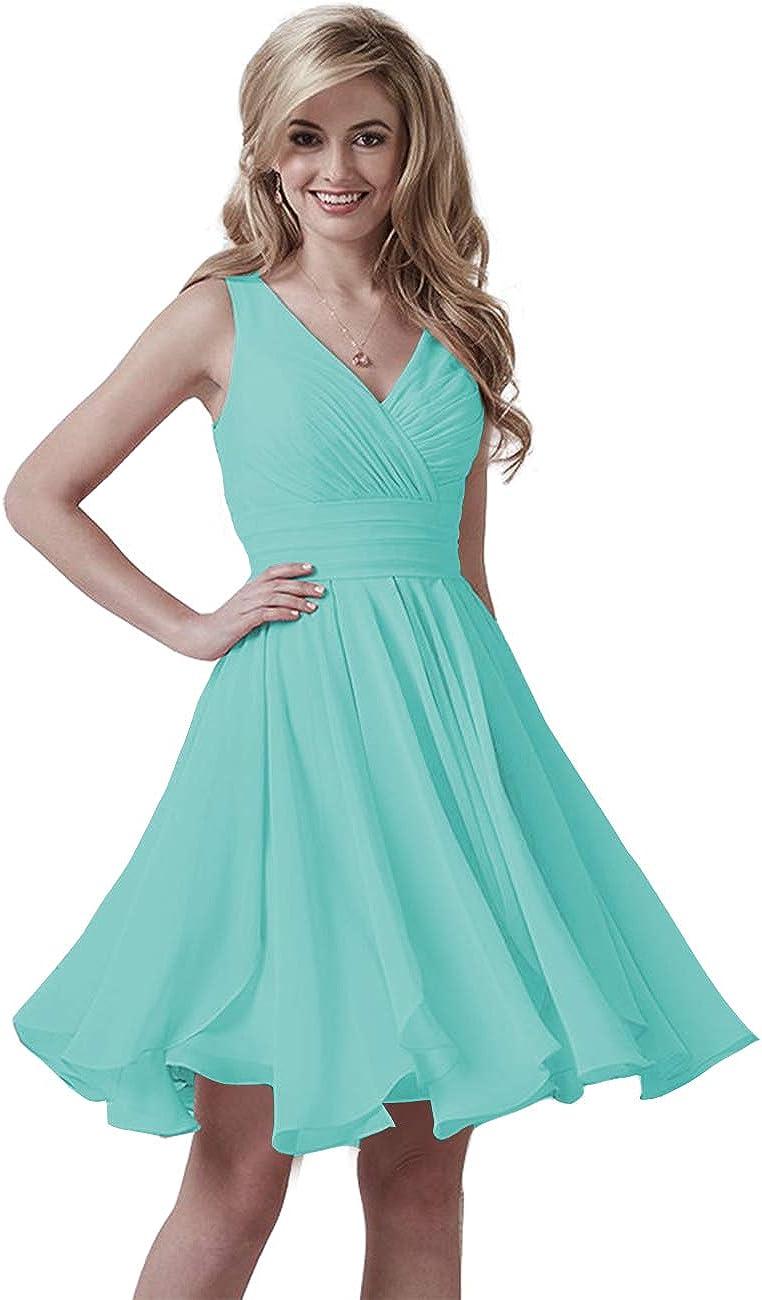 Lover Kiss Women's V Neck Short Bridesmaid Dresses Chiffon Pleated Backless Homecoming Dresses 2021