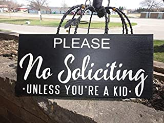 MarthaFox Please, No Soliciting, Unless You're A Kid Sign/Hand Painted Wood Sign/Front Door Sign/Wall Decor/Home Decor/6
