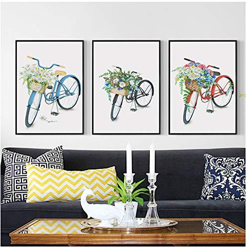 Druck auf Leinwand Home Decoration Wandkunst Leinwandbilder Nordic Cartoon Fahrrad Bilder HD-Drucke Modern Style Poster Schlafzimmer Modulare Leinwand Malerei 27,5