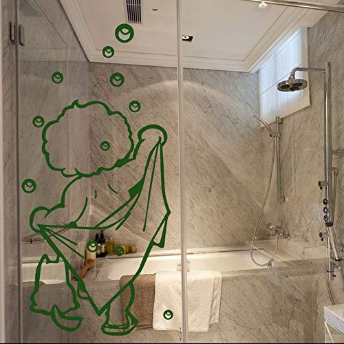 Modeganqingg Niedliche Kinder Duschaufkleber wasserdicht abnehmbar Ich Liebe Duschwandaufkleber Bad Glastür Wandaufkleber grün 92x56cm