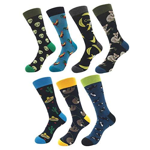 YoungSoul 7 pares calcetines estampados hombre mujer, Calcetines divertidos de algodon, Calcetines de colores de moda 01