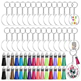Acrylic Keychain Blanks, Audab 120pcs Clear Keychains for Vinyl Kit Including 30pcs Acrylic Blanks, 30pcs Keychain Tassels, 30pcs Key Chain Rings and 36pcs Jump Rings for DIY Keychain Vinyl Crafting