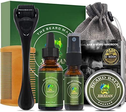 Beard Growth Kit w Beard Roller Beard Growth Oil Beard Balm Beard Roller Cleanser Beard Comb product image