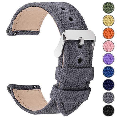 Fullmosa Uhrenarmband 22mm in 8 Farben, Stoff Leinen mit Mattleder Uhrenarmband Uhr Ersatzband mit Schnellverschluss für Mann&Damen,Nordisches Grau 22mm