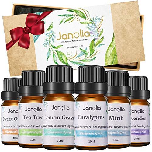 Janolia Ätherisches Öle Set, Essential Oil Geschenkset, Reines Natürliche Duftöle Set für Diffuser, Perfektes Ätherische Öle Geschenk für Familie und Freunde