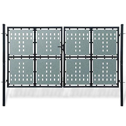 Tidyard Portillon de Jardin Double Style Contemporain pour Jardin/Patio/Terrasse Noir 300 x 200 cm