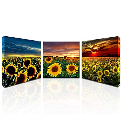 Sunflower Wall Art for Living Room Sunflower Kitchen Decor Sunset Pictures Wall Art Flower Prints Artwork Mural Stretched Gallery Canvas Wrap for Bathroom Decorations