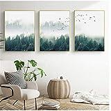 ZHANGSHUAIFFBH Leinwand Malerei Nordic Nebel Wald