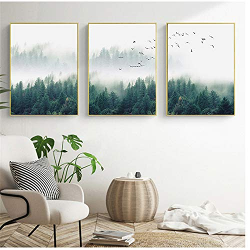 ZHANGSHUAIFFBH Leinwand Malerei Nordic Nebel Wald Landschaft Poster Druck Wandkunst Bild Wohnzimmer Home Office Dekor 50x70cm (19,7