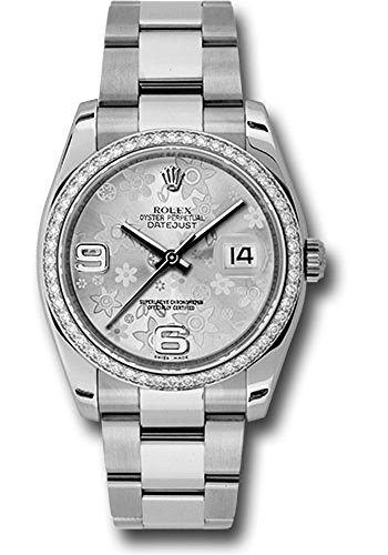 Rolex Datejust 36mm Stainless Steel Case, 18K White Gold Bezel Set with 52 Brilliant-Cut Diamonds, Silver Floral Dial, Arabic Numeral and Stainless Steel Oyster Bracelet.