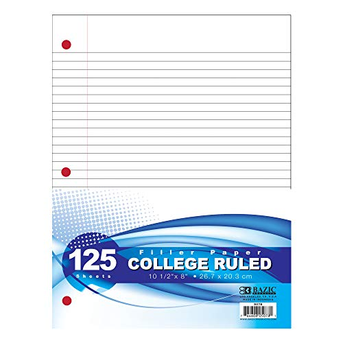 BAZIC College Ruled 125 Sheets Filler Paper, 3 Hole Punched Lined Filler Papers, for 3-Ring Binders Writing Office College Student, 1-Pack