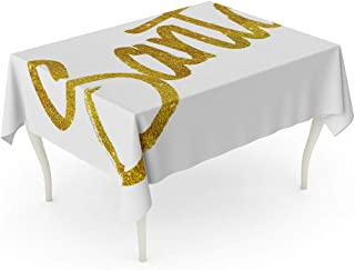 Tarolo Rectangle Tablecloth 52 x 70 Inch Christmas Santa Quote Eve Faux Gold Holiday Nick Table Cloth