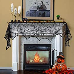 Mantel scarf with spider web motif