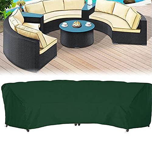 Bicherub Garten-Sofabezug für gebogene Sofas, für den Außenbereich, wasserdicht, für Terrasse, halbmondförmig, 228 x 116 x 86 cm, Grün