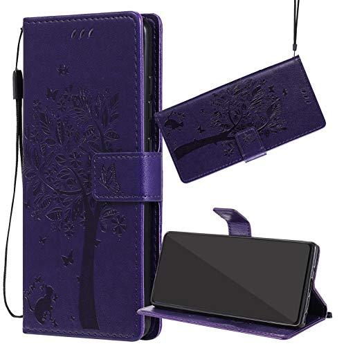Yiizy Handyhüllen für ZTE Blade L110 (A110), Lederhülle Brieftasche Schutz Hülle TPU Silikon Innenschale Klapp Cover mit Media Kickstand und Kartensteckplätze Design (Lila)