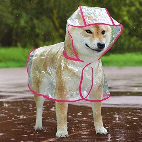 LLKK Impermeable Transparente para Mascotas,Poncho Impermeable para Perros,Impermeable Impermeable para Perros Sudadera con Capucha a Prueba de Viento Adecuada para Perros pequeños y medianos
