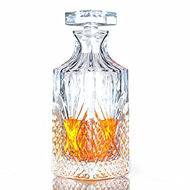 Irish Diamond Cut Old Fashioned Lead-Free Crystal Dublin Whiskey Decanter - 750ml (with Full Glass Ground Stopper) by Fine Occasion