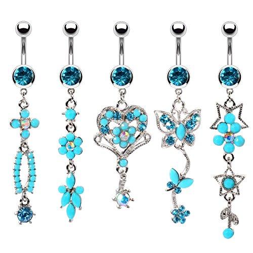 BodyJ4You 5PCS Belly Button Rings 14G Flower Heart Butterfly Steel Aqua...