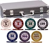 320 Piece Clay Pro Poker Chip Set - 320 heavy weight 14g casino-quality poker chips - 2x PLASTIC CARDS with cutting cards - METAL REINFORCED leather case with wooden insert - FREE Poker Felt (Style A)