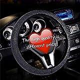 AotoKoop White Rhinestones Steering Wheel Cover for Women, Bling Diamonds Steering Wheel cover, Universal 15 Inch Steering Wheel Cover