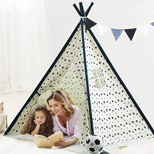 Dripex Teepee Tent for Kids, Fodable Children Play Tent with Carrying Bag and 5 Poles for Boys Girls Toldder, Baby Indian Wigwam Playhouse Toy for Indoor and Outdoor Game