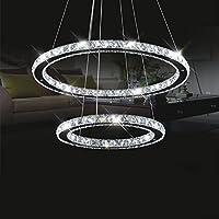 モダンリングLEDクリスタルシャンデリア、天井ランプシャンデリア、リビングルームランプ寝室レストラン照明ラウンド(色:白、サイズ:20 + 40 + 60cm)