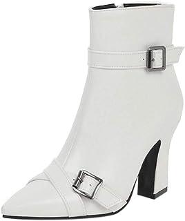 JOJONUNU Women Fashion Block Heels Ankle Dress Boots Zipper