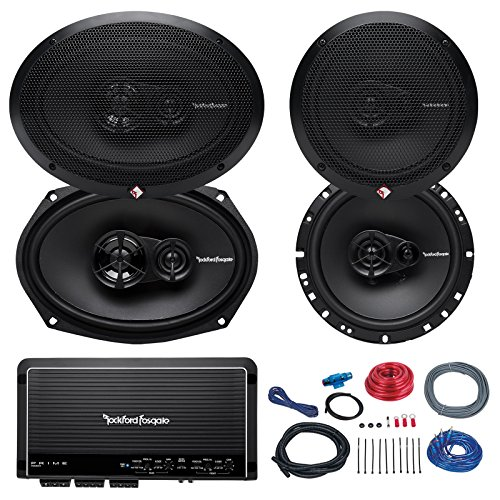 "Car Speaker and Amp Combo of 2X Rockford Fosgate R165X3 Prime 6.5"" Inch 180 Watt 3-Way Full-Range Coaxial Speaker Bundle with 2X R169X3 Prime 6x9 Audio Speakers + 4-Channel Amplifier W/Install Kit"