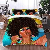 Mingdao Bedding Juego de Funda de Edredón -Mujer Negra con Peinado Afro afroamericano/Microfibra Funda de Nórdico (Cama 200 x 200 cm + Almohada 50X80 cm)