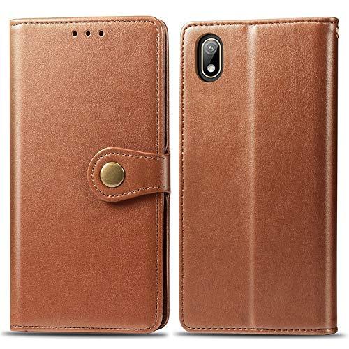 Happy-L Caso Huawei Y5 2019, Funda de Billetera, Funda Delgada de Cuero PU Premium con Cierre magnético Fuerte de Doble vía (Color : Brown)