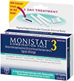 Monistat 3 Vaginal Antifungal Combination Pack, 3 Suppositories with Disposable Applicators and 1 Tube External Cream (Pack of 2)