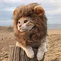 かわいい ペットヘッドギアハット猫ライオンヘッドセットおもしろいペットドレス耳帽子犬猫かわいいおかしい頭飾りヘアアクセサリー首周り28cm以内ショートカットはいつでもどこでも使えます。