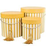 DECORPRO 3er Set runde Aufbewahrungsboxen mit Deckel, gestreift in Gelb, mit Kordel und Quaste,...
