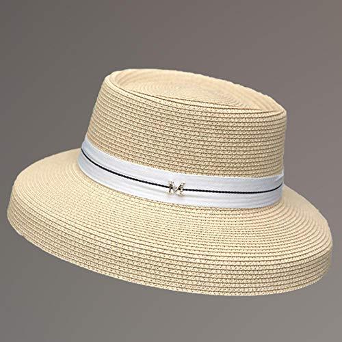 Sun Hat Straw Hat Sun Hats Women Fashion Straw Hat Ribbon Bow Beach Hat Casual Straw Flat Top Panama Hat-Beige_56-58Cm