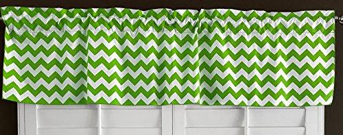 lovemyfabric Cotton Blend Crazy About Chevron Kitchen Curtain Valance Window Treatment (Lime Green)