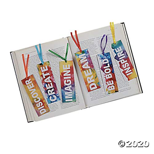 Just4fun Inspirational Rainbow Watercolor Laminated 6' Bookmarks - Inspire Dream Imagine Create - Party Favors Teacher Rewards Motivational (Package of 24)