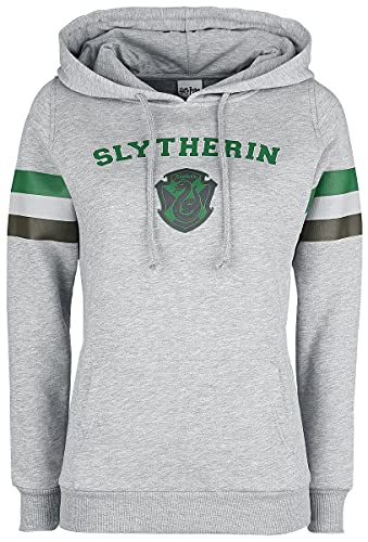 HARRY POTTER Slytherin - College Stripes Mujer Sudadera con Capucha Gris Melé L