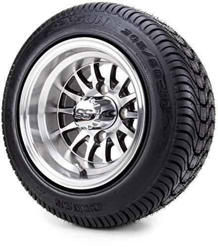 "10"" Medusa SS Golf Cart Wheels & Low Profile Tires Combo Set of 4"
