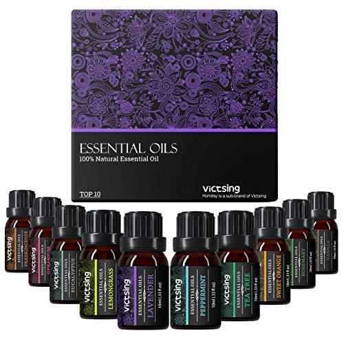 VicTsing 10x10ml Aceites Esenciales para Difusor, Puro Set de Regalo de Perfume de Aceites,-Naranja Dulce, Lavanda, Arbol de Té, Hierba de Limón, Eucalipto y Menta, Púrpura